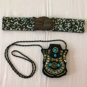 Bundle of two Beaded Belt and Small Beaded Purse